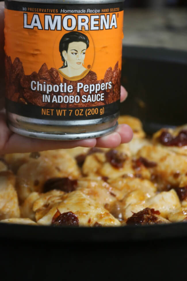 The key ingredient for these Chipotle Pepper Chicken Tostadas