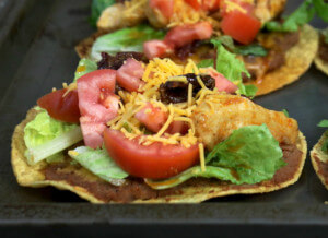 Topped and ready to eat - Chipotle Pepper Chicken Tostadas