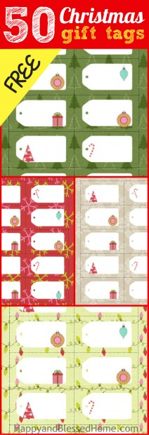 50 Christmas Gift Tags FREE from HappyandBlessedHome.com