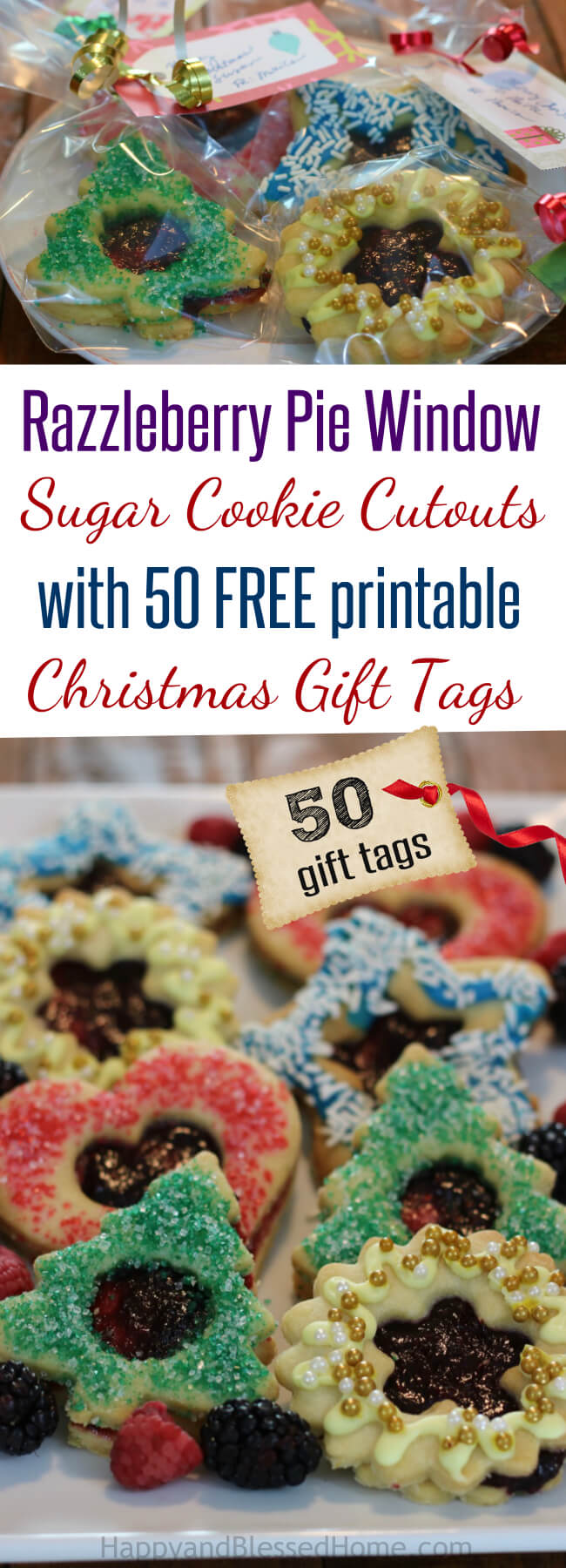 50 FREE CHristmas Gift Tags AND a Razzleberry Pie Window Sugar Cookie Cutout Recipe