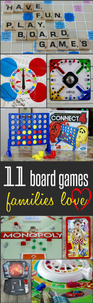 An awesome list of 11 board games families love - a fabulous list from HappyandBlessedHome.com
