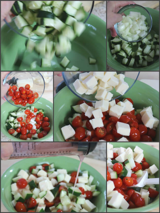 Assemble the Mozzarella, Cucumber and Tomato Salad for an easy side dish