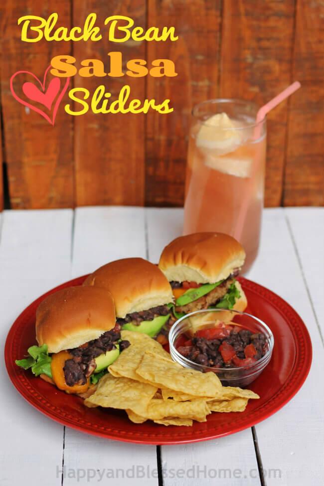 Black-Bean-Salsa-Sliders-and-Mango-Ice-Cream-Slush-Easy-Recipe-from-HappyandBlessedHome.com_