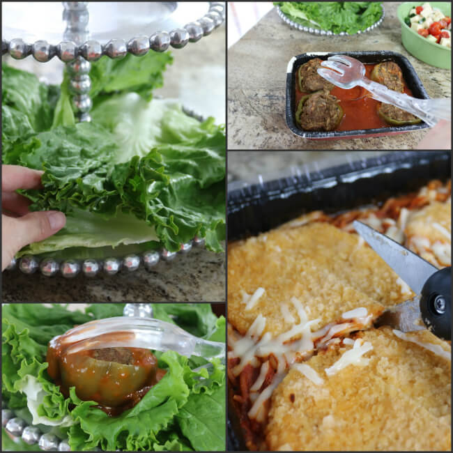 Chicken Parmesan and Stuffed Peppers entreés preparation and Christmas party display idea