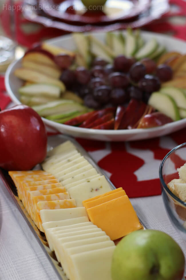 Easiest party tray ever - just slice some fruit and plate the cheese to serve