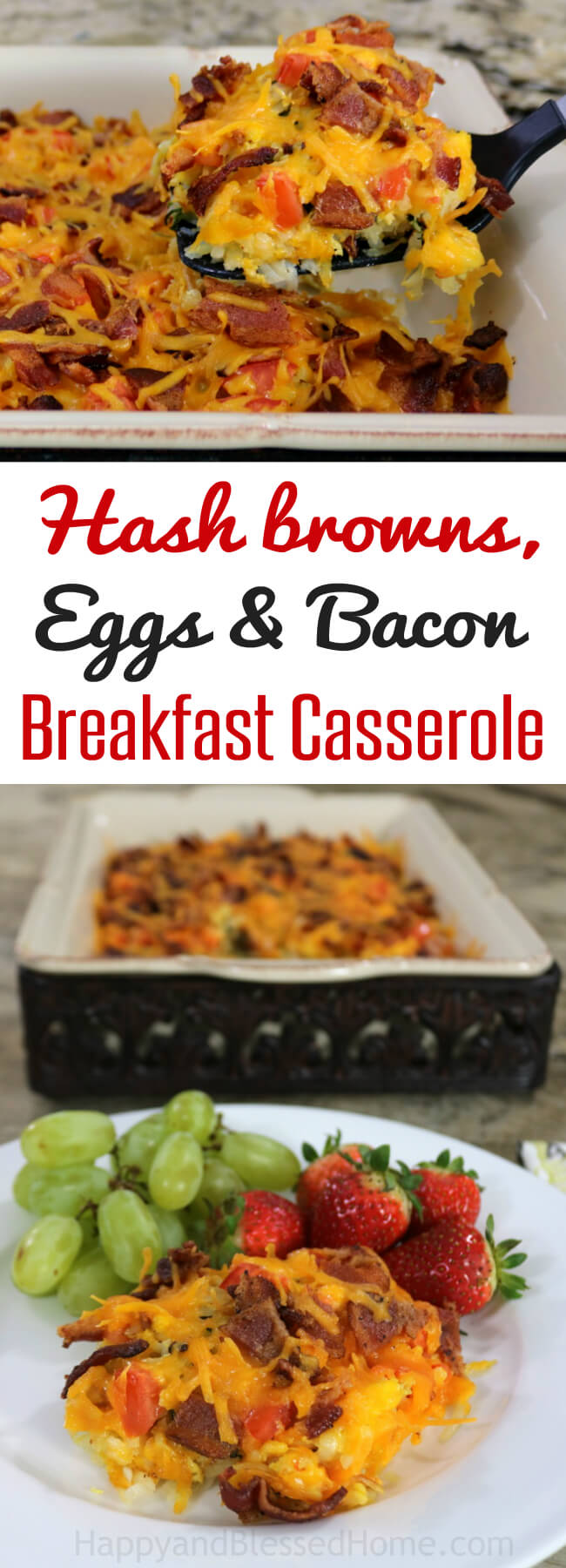 Easy Recipe: Hash browns, Eggs and Bacon Breakfast Casserole. This casserole dish is perfect for a laid-back weekend with family or you can heat some up in the microwave before work on a weekday. It's simple and so easy to make - and it feeds a crowd when needed.