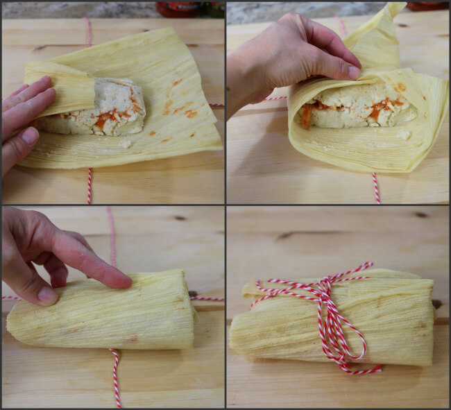 Easy fold wrap and tie technique to make Mexican shredded chicken tamales