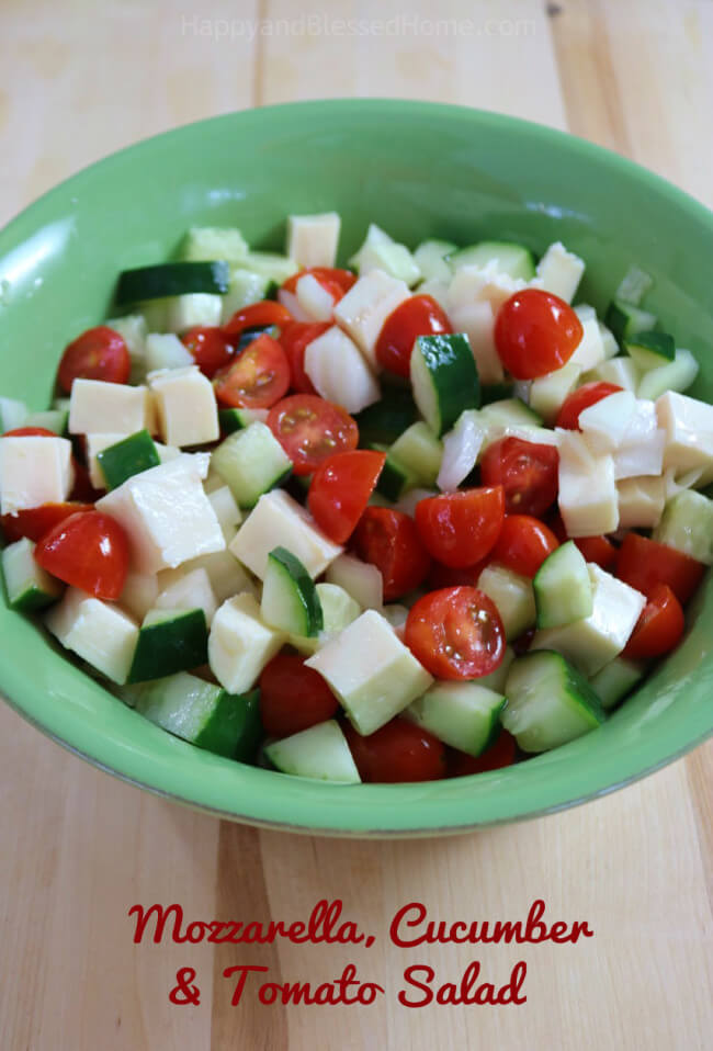 Easy recipe Mozzarella, Cucumber and Tomato Salad - perfect side dish