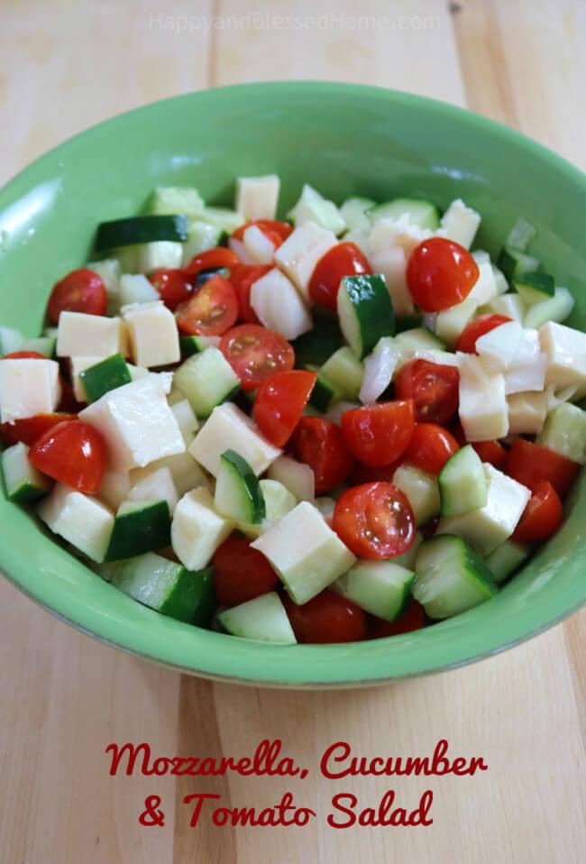 Easy recipe Mozzarella, Cucumber and Tomato Salad - perfect side dish