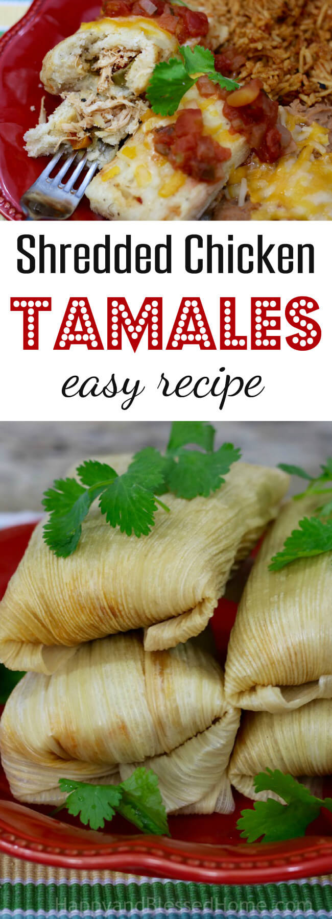 Easy recipe for shredded chicken tamales with savory flavor and less than 2 hour prep and cook time recipe - Mexican dinner made easy