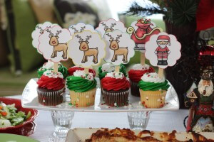 FREE Christmas Party Printables - Santa and his sleigh cupcake toppers