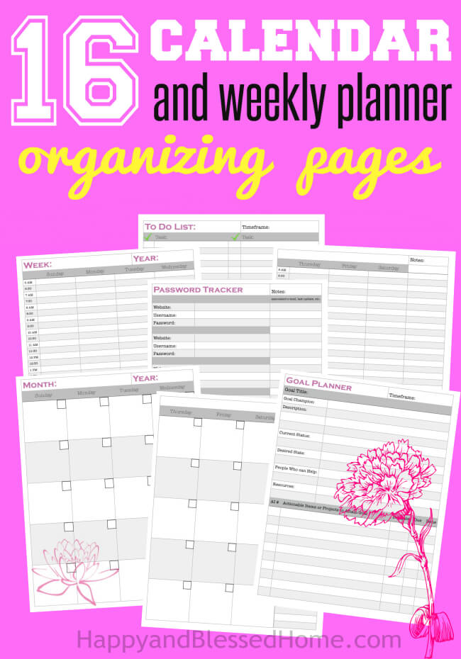 FREE Yearly Monthy and Weekly Planner Pages for Goal Setting and Organizing