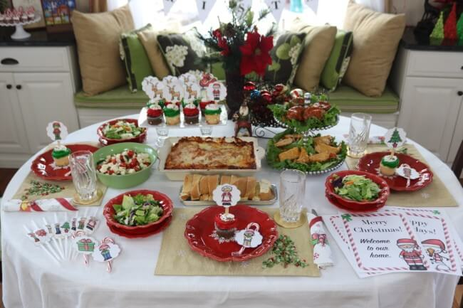 Holiday entertaining with FREE Christmas Party Printables, Stouffer's Italian Entreés, and Mozzarella, Cucumber and Tomato Salad Recipe