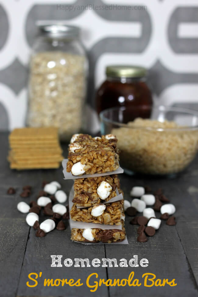 Homemade-no-bake-Smores-Granola-Bars-with-Rice-Krispies-cereal-the-perfect-anytime-snack-recipe-from-HappyandBlessedHome.com_