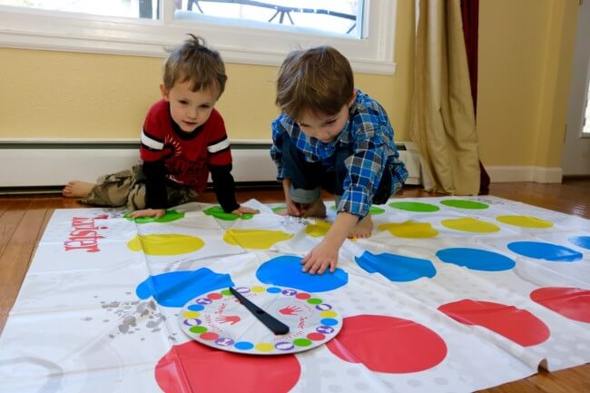 The boys had a blast placing their hands and feet on the colored circles