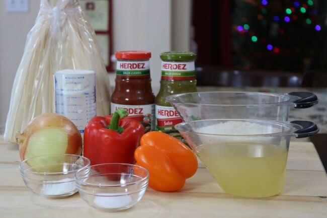 Simple ingredients for an easy shredded chicken tamales recipe