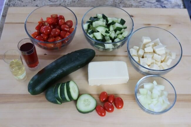 Ingredients for Mozzarella, Cucumber and Tomato Salad Recipe