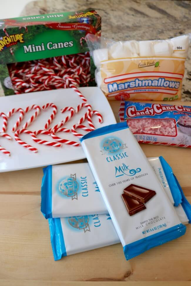 Ingredients for easy recipe Chocolate Dipped Marshmallow Candy Canes