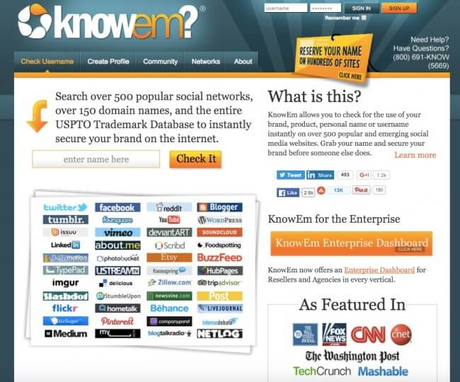 Knowem - the first place to check for your blog name avilability