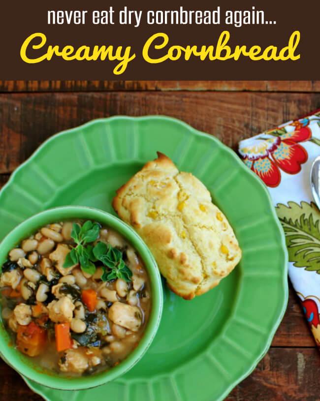 Creamy Cornbread at HappyandBlessedHome.com