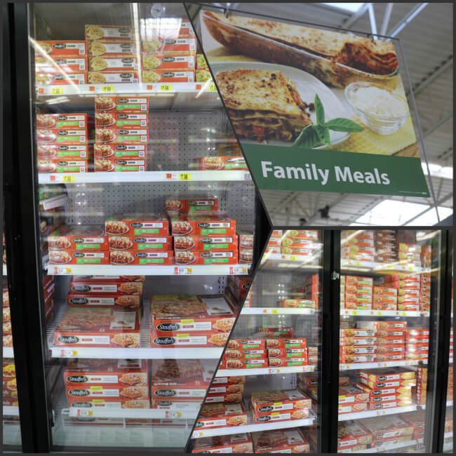 Stouffer's Lasagna with Meat Sauce, Chicken Parmesan, and Bell Peppers Entrées in the Walmrt freezer case