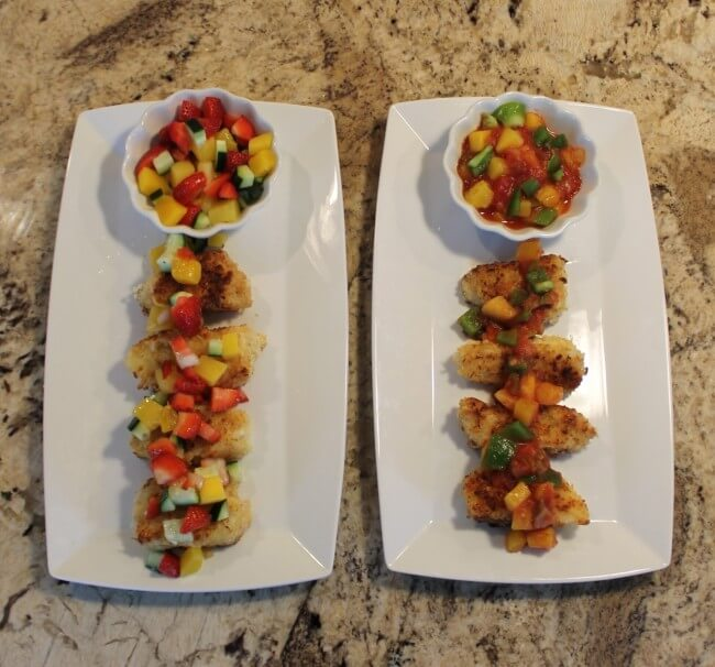 Sweet or Savory? Panko and Coconut Crusted Cod and Mango Salsa Recipes Plated