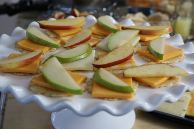 Topping these perfectly sqare cheese slices is easy - just use fresh fruit