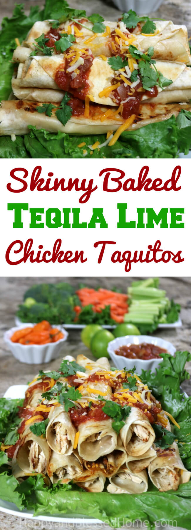 Baked Tequila Lime Chicken Taquitos at HappyandBlessedHome.com