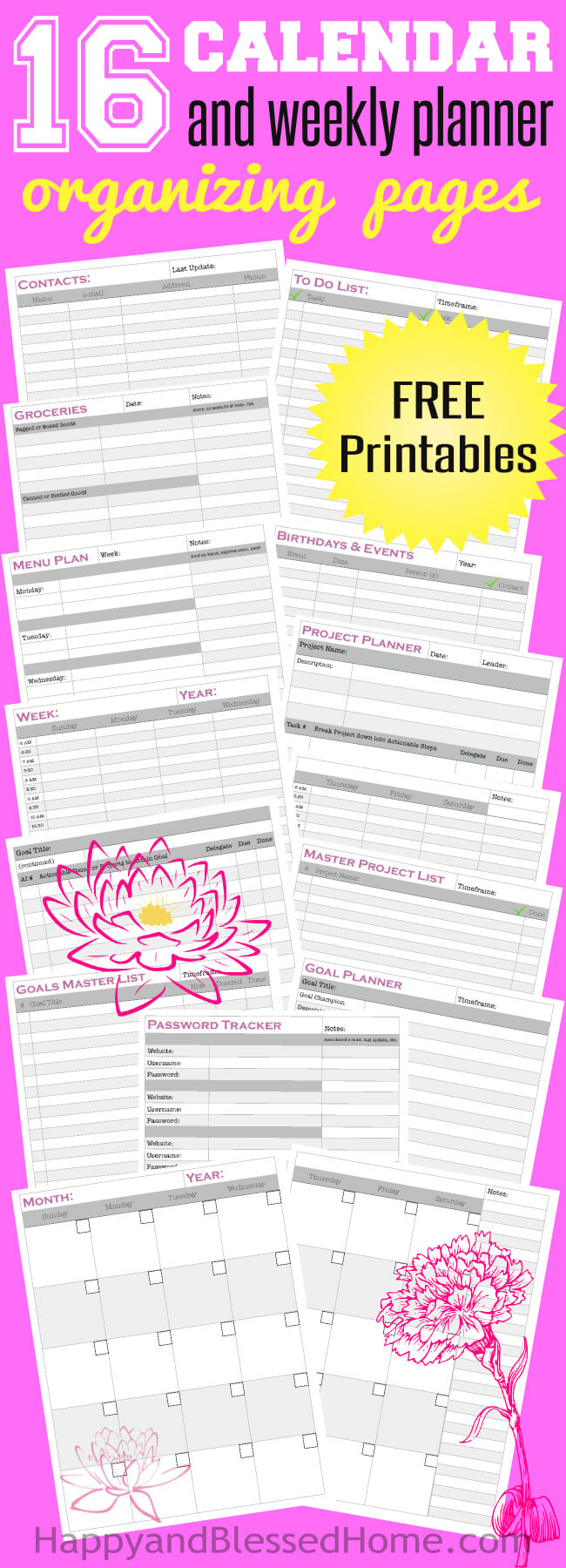 Yearly Monthly and Weekly - Everything you need in a planner plus goal setting tools and project plans from HappyandBlessedHome
