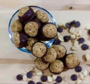 A protein powered snack - SKINNY Peanut Butter and Chocolate Buckeyes