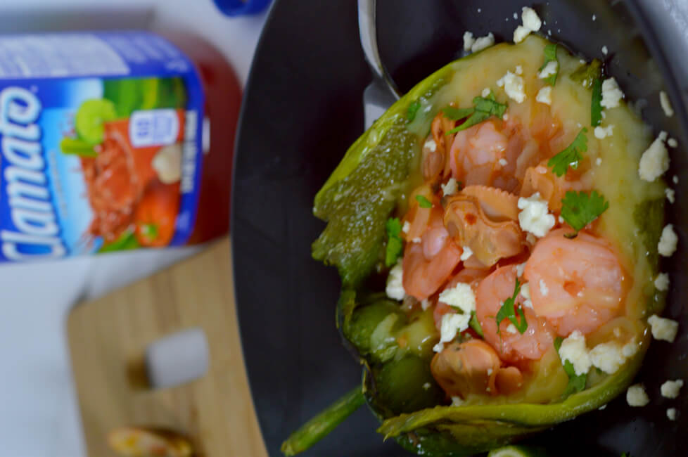 Clamato is perfect for this Cheese, Clam and Shrimp Stuffed Poblano Peppers