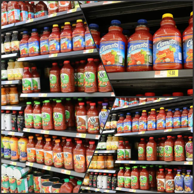 Find Clamato on the juice aisle at Walmart
