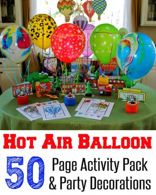 50 Page Hot Air Balloon Activity and Party Pack