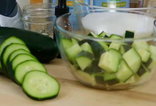 This easy DIY for my Cucumber Sugar Scrub with essential oils only requires 5 ingredients