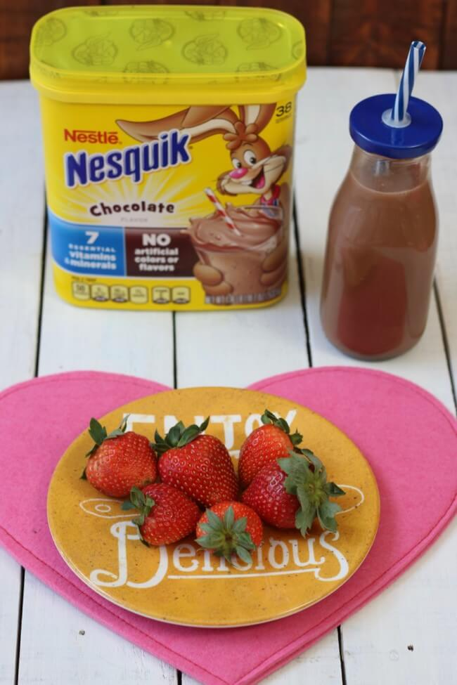 A delicious breakfast of strawberries and Nestle Nesquick
