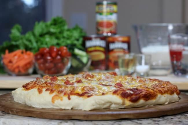 With Make Ahead Pizza Dough you can customize your sauce and toppings - try this Manwich and ROTEL pizza