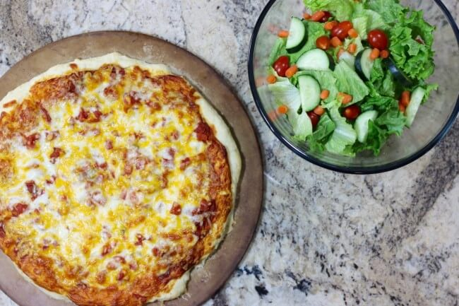 Pair this Make Ahead Pizza Dough with hearty toppings and a fresh salad