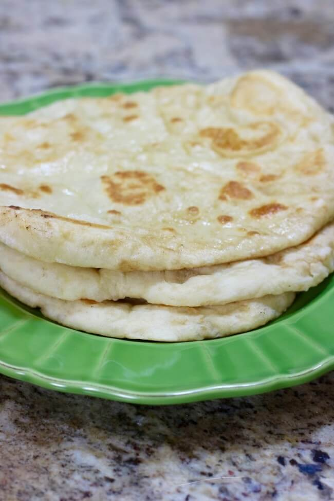 Four simple ingredients for Flatbread that is chewy on the inside and toasty on the outside