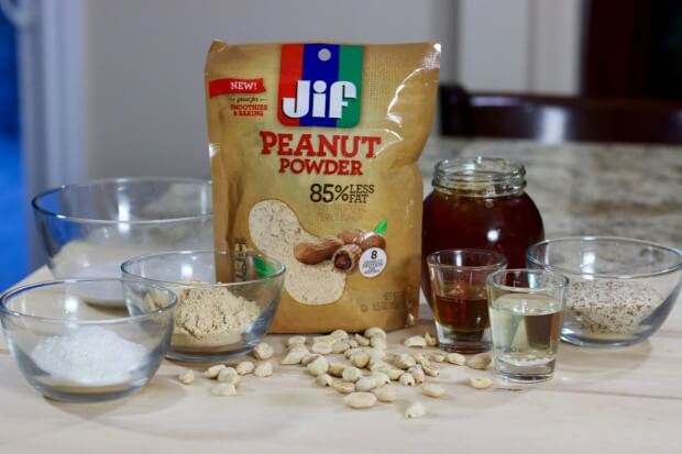Ingredients needed to make SKINNY Peanut Butter and Chocolate Buckeyes