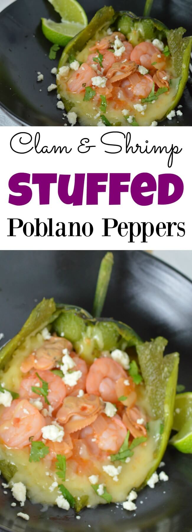 Melt in your mouth cheesy Mexican flavors with this easy recipe for Clam and Shrimp Stuffed Poblano Peppers