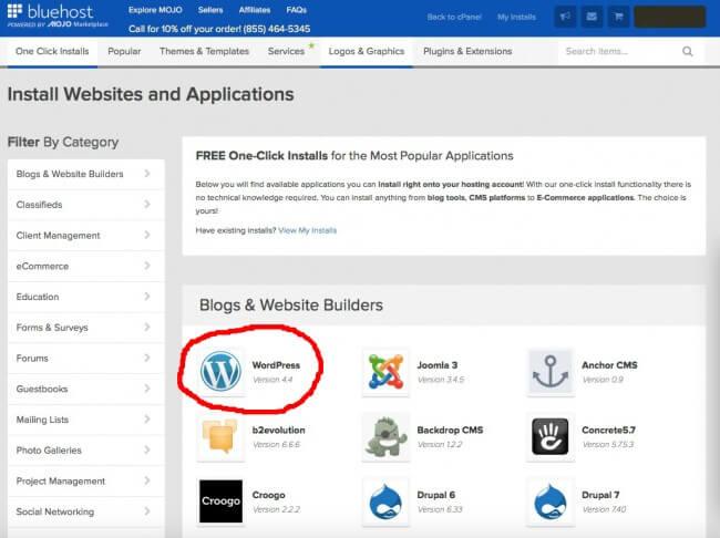Select WordPress in the MOJO Marketplace