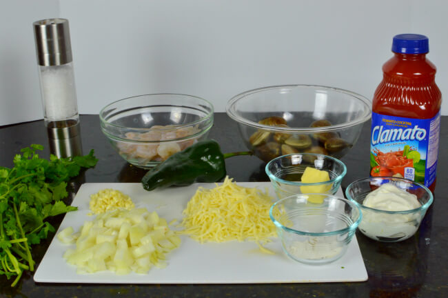 Simple Ingredients to create a savory dish - Cheese, Clam and Shrimp Stuffed Poblano Peppers
