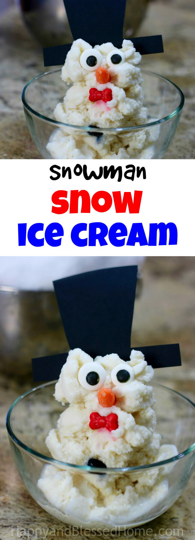 An adorable sweet treat for kids - Snowman Snow Ice Cream Recipe with ingredients and directions