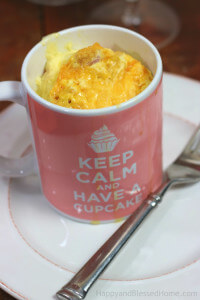 Denver Omlette in a Mug that reads Keep Calm and Have a Cupcake