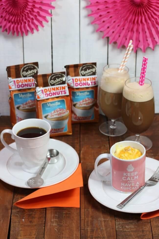 Tasty Dunkin Doughnuts Vanilla Cupcake Coffee and Denver Omelette in a Mug
