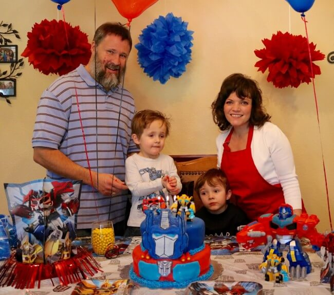 Our family enjoying a Transformers themed birthday party
