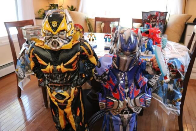 Bumblebee and Optimus Prime made an appearance at our son's Four-Year-Old Transformers Birthday Party