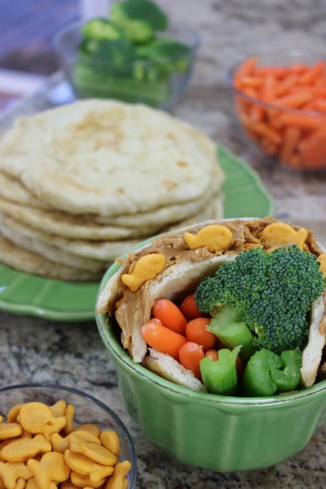 Easy flatbread recipe topped with Goldfish Crackers and peanut butter - a kid favorite at our house