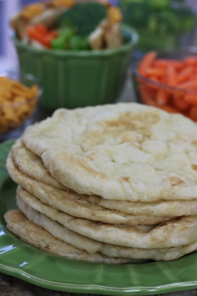Tasty Goldfish Crackers with peanut butter on homemade flatbread - a great way to teach kids to make their own sandwiches!