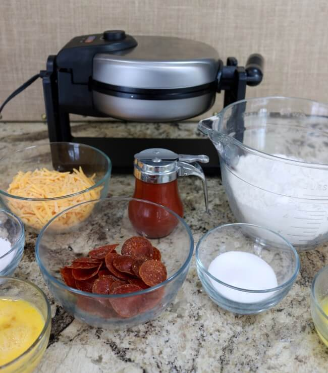 Simple ingredients for a tasty and easy Waffle Pizza recipe - a new kid favorite at my house for lunch